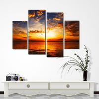4 Piece Unframed Sunset Wall Art Picture Printed Canvas Oil Painting By Numbers High Quality Home