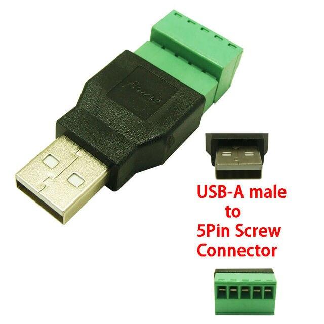 5 pièces livraison gratuite USB mâle à vis connecteur USB prise avec bouclier connecteur USB adaptateur USB2.0 type A à vis terminal