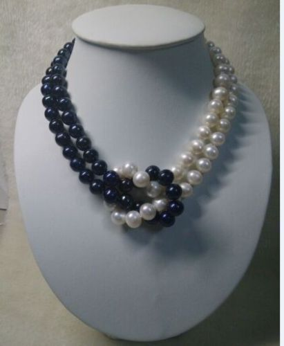 18 9-10MM TAHITIAN NATURAL WHITE BLACK PEARL NECKLACE 925silver [ys] 9 10mm black loose natural tahitian pearls
