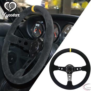 Uniwersalny 14 #8222 cali samochód wyścigowy zamszowe kierownica 350MM głębokie kukurydzy rajd danie Sport wyścig kierownice tanie i dobre opinie Kyostar FRONT 35 cm Real Suede Leather 1 5 kg Leather steering wheel KD8223 China 1 5kg 10 pcs Universal Black Suede Leather steering wheel