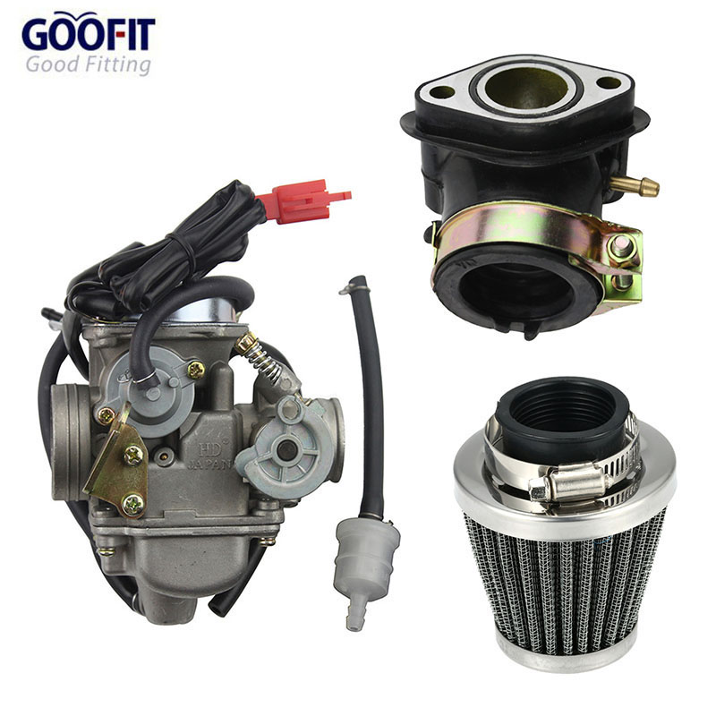 GOOFIT PD24J Carburetor with Air Filter Intake Manifold for GY6 125cc 150cc Go Kart Scooter 152QMI 157QMJ Group-y6