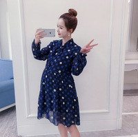 2017 Summer Fashion Long Sleeve Chiffon Maternity Dress Floral Pregnancy Lace Pregnancy Sundress Bottoming Long Section
