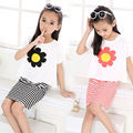 Summer sets 2016 for girls Short sleeve t-shirts+stripe sundress two-piece set Kids casual dress suit Free shipping kd 3-kd 7