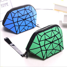 hot deal buy women casual make up bag waterproof pvc shell geometry triangle diamond cosmetic bags portable organizer wash cases for girls