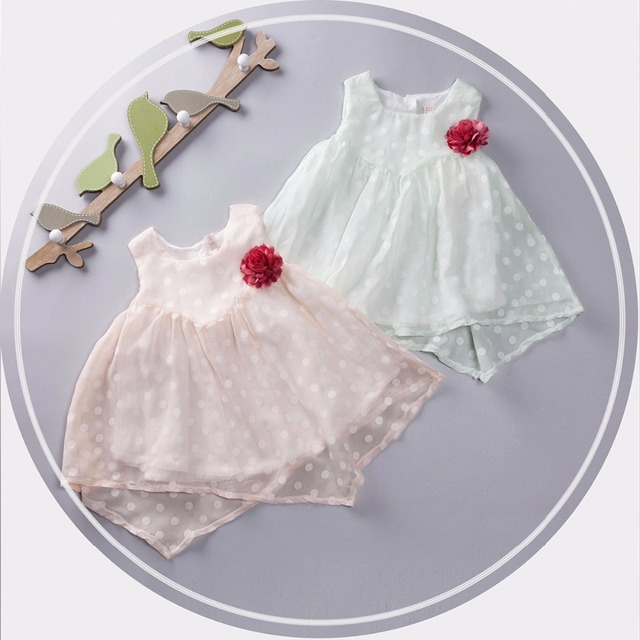 new 2016 summer baby dress polka dot girl clothes dress infants party dress print lace Fairy toddler girls princess dress baby