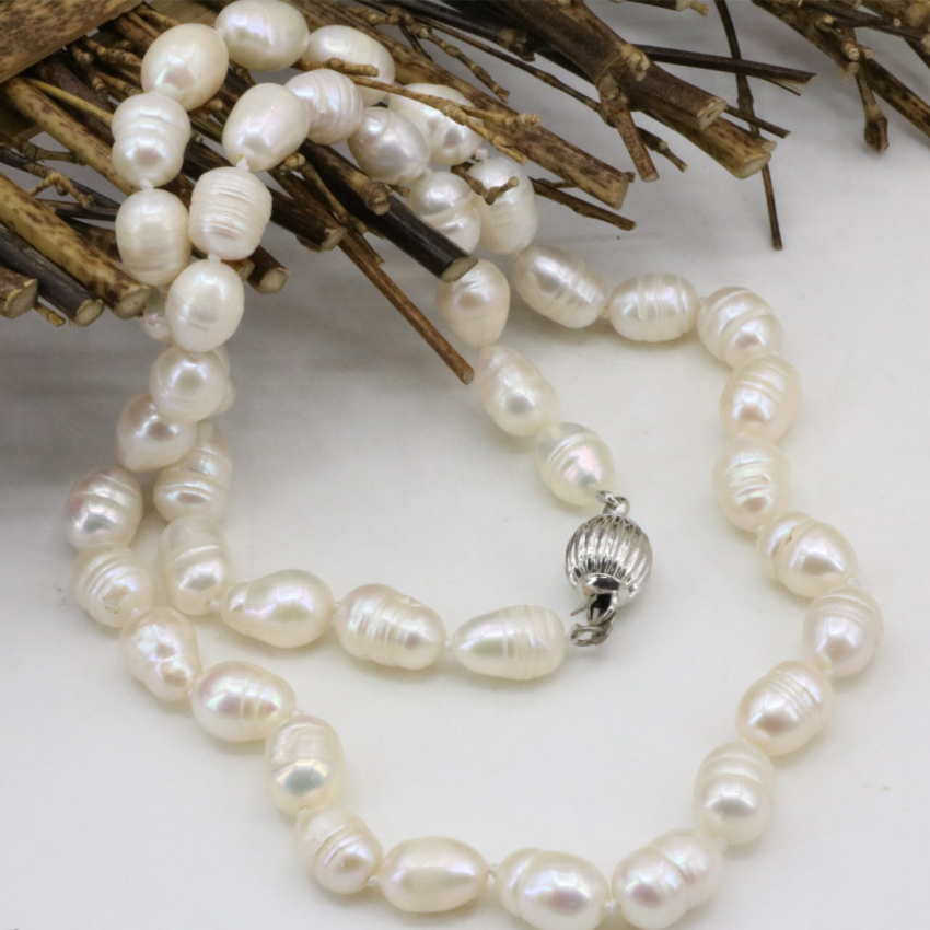 Real Pearl 8-9mm Genuine White Natural Freshwater Cultured Long Pearls Rice Beads Chain Necklace Fashion For Women Female 18inch