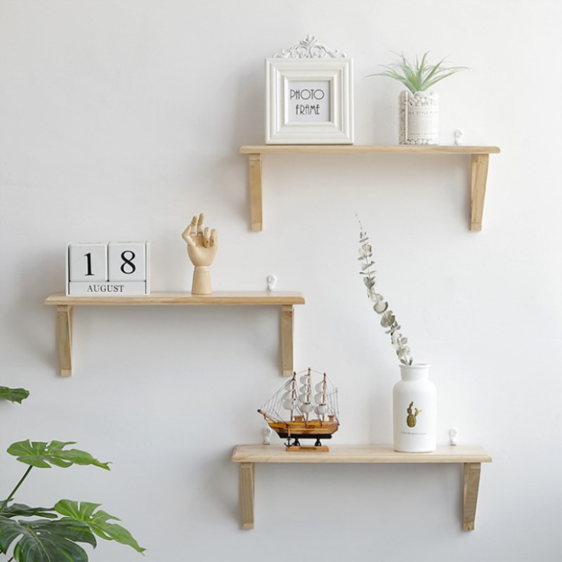 Wooden Wall Storage Rack Wall Hanging Shelf Rack Rectangle Convenient Storage Rack Holder Geometric Figure Wall Home Decoration
