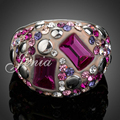 Jenia New fashion White Gold Plated Colorful Austrian Crystal Beach Ring for Women Gift Jewelry XR040