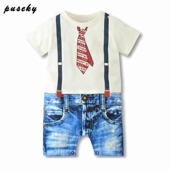 2019 Baby Boy Rompers Summer Baby Boy Clothing Sets Newborn Baby Clothes Gentleman Boy Clothing Roupas Bebes Infant Jumpsuits 1