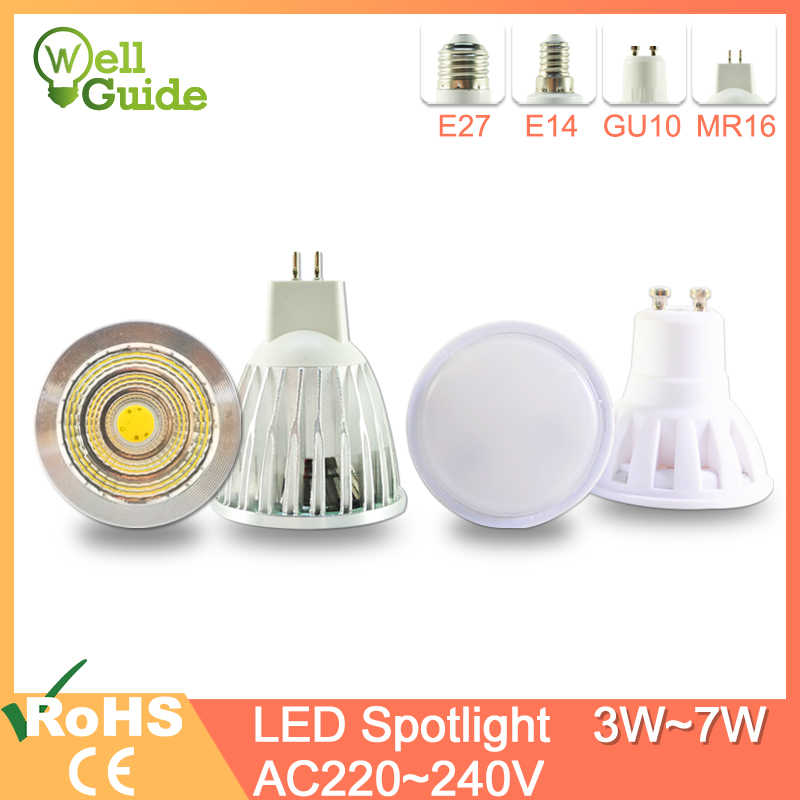 LED Lamp GU10 MR16 E27 E14 LED Spotlight 3W 5W 6W 7W AC 220V 240V Lampada aluminum  COB SMD led bulb Energy Saving Home Lighting