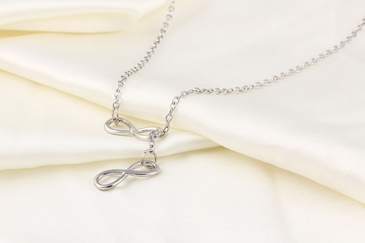 Charm Metal Infinity Pendant Necklace
