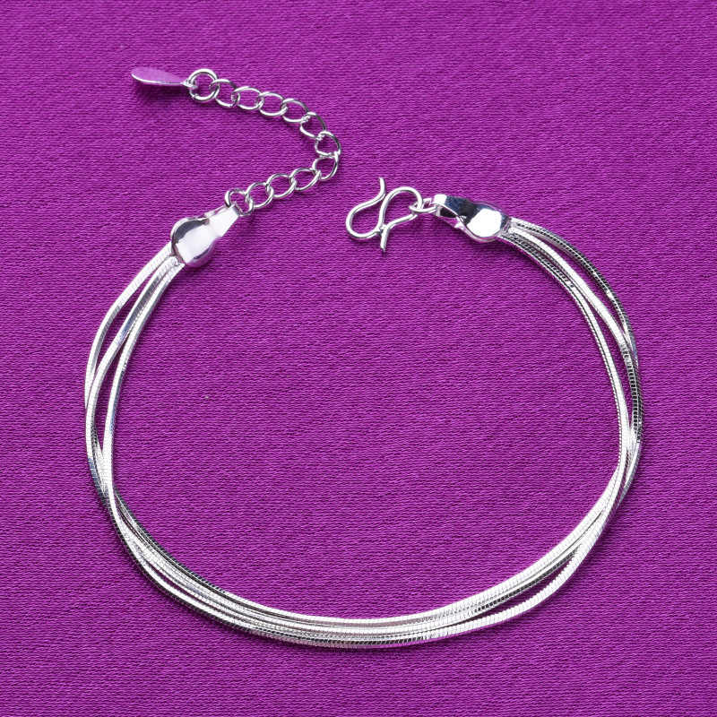 925 סטרלינג כסף 3 שכבות נחש שרשרת קסם צמידי קישור שרשרת מתכוונן צמידי לנשים מסיבת חתונה תכשיטי A168