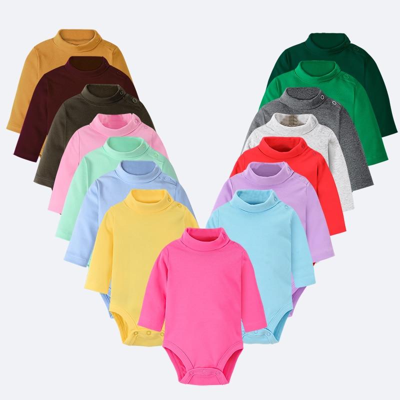 Hooyi Baby Bodysuits 100% Baumwolle Weiche Newborn Overalls Infant kleidung Feste Rollkragen Pyjamas Shirts Tops 0 1 2 3 jahre