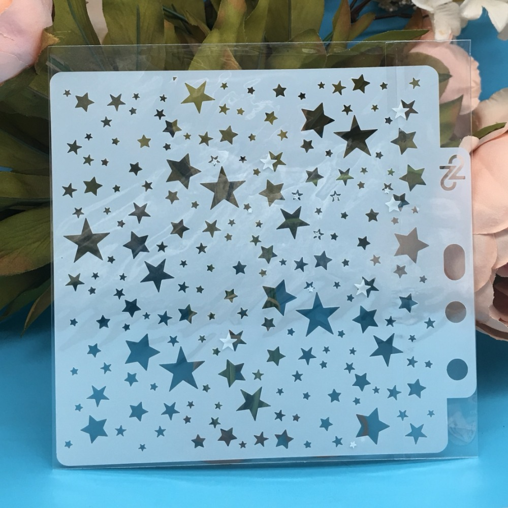 13cm New Stars Galaxy DIY Layering Stencils Wall Painting Scrapbook Coloring Embossing Album Decorative Card Template