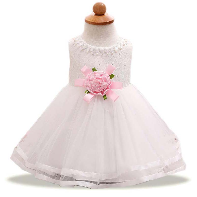 2017 Baby girls flower dresses Rose pearl white dress girl wedding clothes bapteme princess ball gown vestidos bebe bautizo