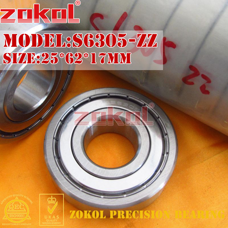ZOKOL bearing 6305 ZZ S6305ZZ Stainess steel S6305-ZZ Deep Groove ball bearing 25*62*17mm gcr15 6326 zz or 6326 2rs 130x280x58mm high precision deep groove ball bearings abec 1 p0