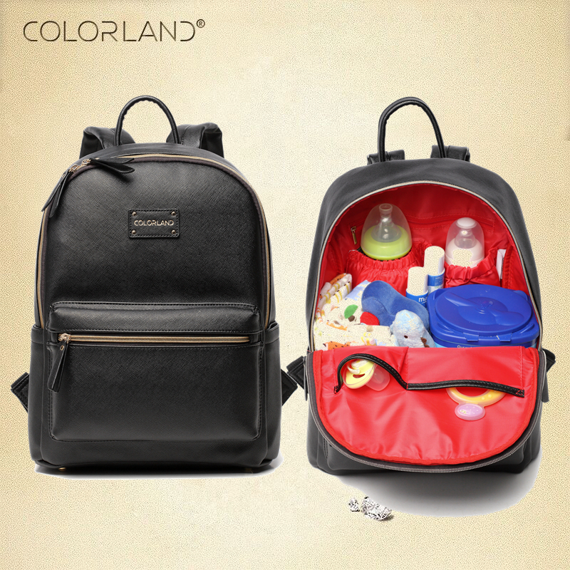 Colorland PU Leather Baby Bag Organizer Tote Diaper Bags Mom Backpack Mother Maternity Bags Diaper Backpack