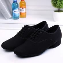 Men's Latin Ballroom Dance Shoes Professional Black Canvas Latin Salsa Shoes Plus Size Low Heel Tango Ballroom Dance Shoes Men