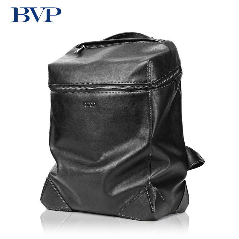 Famous Brand BVP High Quality Men Genuine Leather Black Backpack Fashion Double Shoulder Bags Multi-capacity Travel Bag j50 famous brand luxury men backpack genuine leather vintage mochila black men sport double shoulder bag men s backpacks bp00042