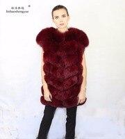 Linhaoshengyue 80cm long Natural fur big shoulder vest fox true,