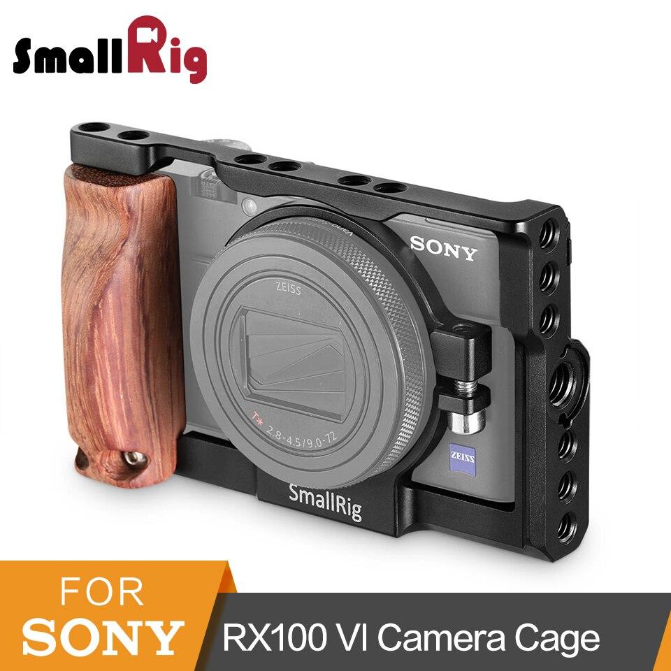 SmallRig RX100 VI Камера клетку с деревянным Боковая ручка для sony RX100 VI DSLR клетка + дерево рукоятки комплект-2225