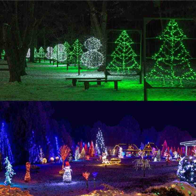 10 м 100 Светодиодные Гирлянды Гирлянда на Рождественское дерево Сказочный свет Luce водонепроницаемый домашний сад вечерние украшения для праздника на открытом воздухе струнные огни