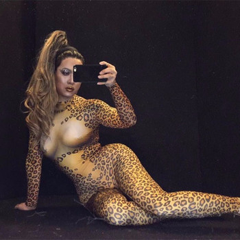 Nightclub Bar Party Male Female Dance Teams Costume Sexy Pole Dancing Performance Stage Outfit Leopard Printed Stretch Jumpsuit