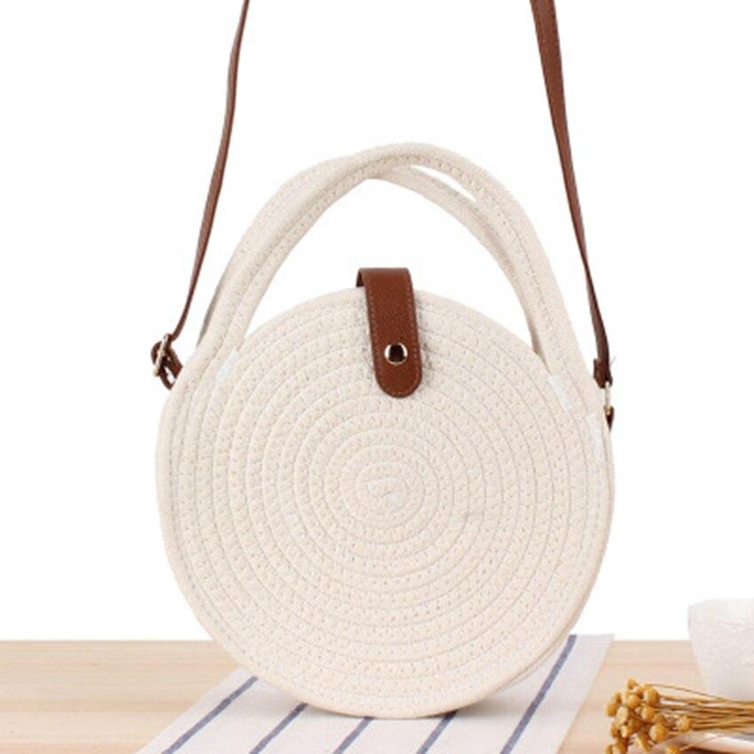 Новая круглая хлопковая плетеная Сумка через плечо, Пляжная соломенная сумка Sen grass, модная маленькая круглая сумка мессенджер для торта