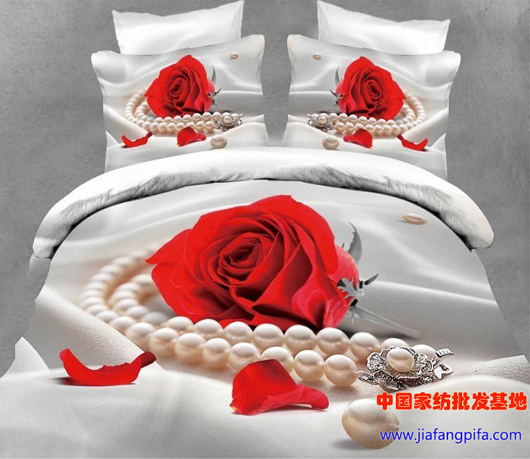 3d Red Rose White Pearl Cotton Bedding Set Queen Size Bed