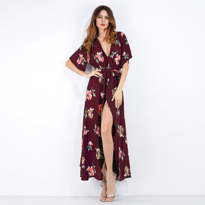 Short Sleeves Beach Dress Red Printed Floral Summer Ankle Length Dress For Women