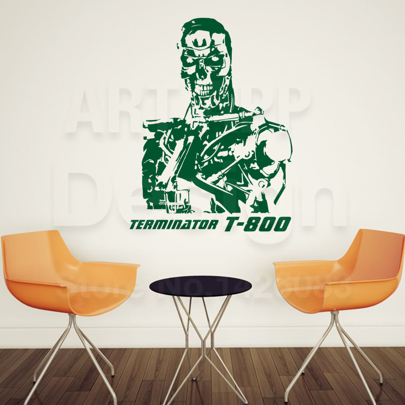 Good quality art design cheap vinyl home decoration terminator t 800 wall sticker removable house decor robot room decals in wall stickers from home
