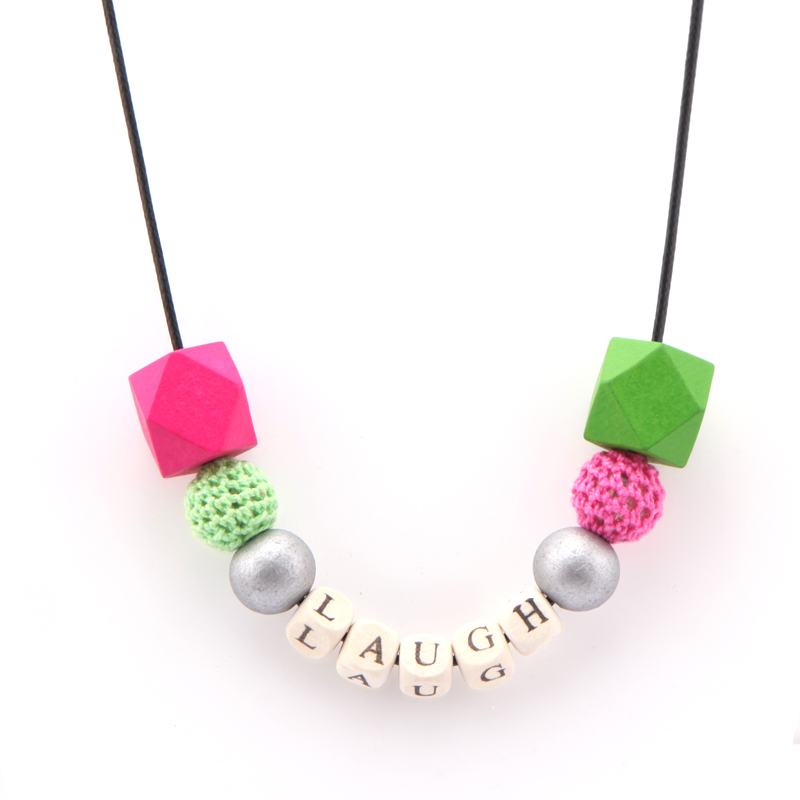 Unfinished Geometric Wood Spacer Letter Beads Necklace With Crochet Beads and Free 80cm Rope Chain As Women Christmas Jewelry