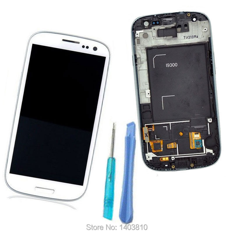 White New LCD Display Touch Screen Digitizer For Samsung Galaxy S3 III i9300 +Frame Assembly