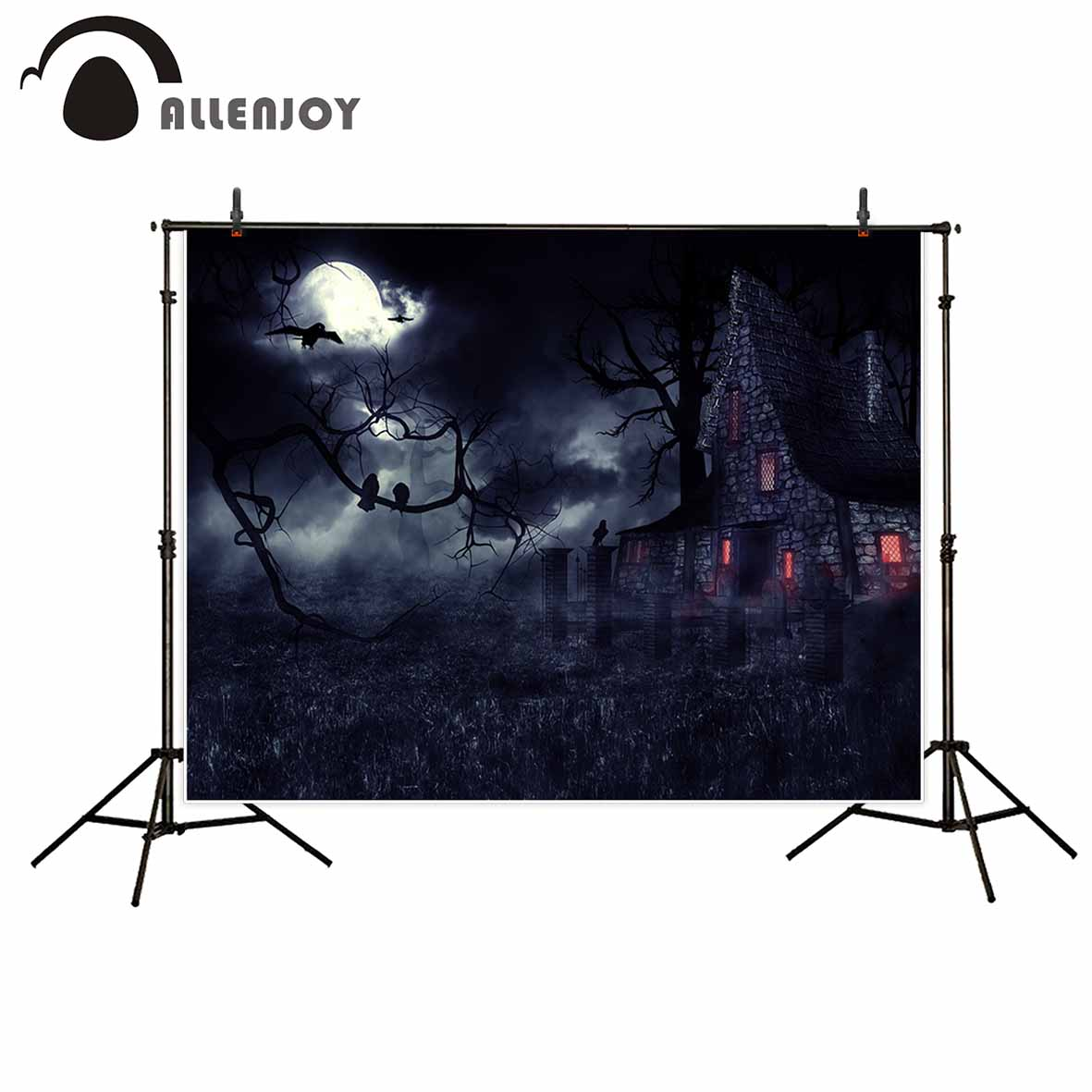 Allenjoy vinyl newborn photography background Crows Haunted house Darkness moon Halloween photo studio photobooth high quality life size scary severed head party decoration haunted house halloween props