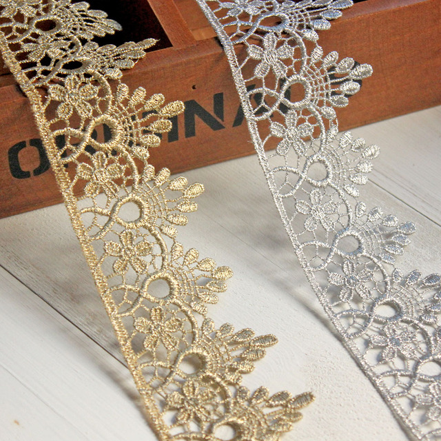 1 Yard Gold Silver Lace Trim Ribbon Embroidered Tulle Lace Fabric Girls  Crown DIY Crafts Bag 9438e5db329c
