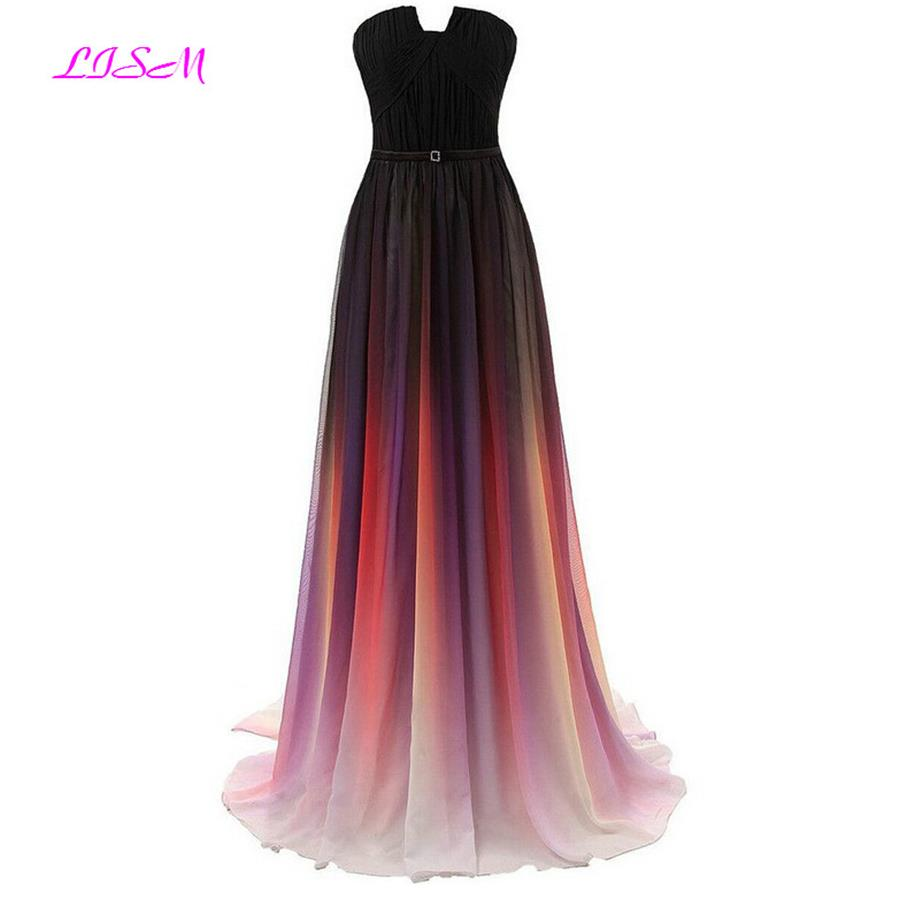 Real Photos Gradient Color Chiffon   Bridesmaid     Dresses   A Line Customized Prom   Dress   Long Empire Formal Gowns vestido de festa