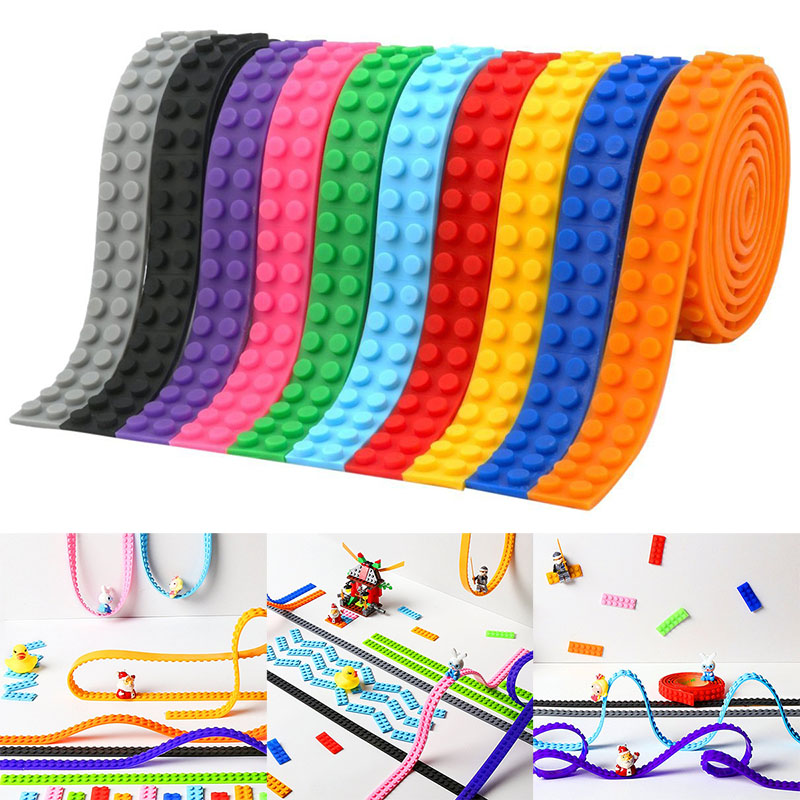 100CM 2X115 Dots Plastic Loops Blocks Toy Adhesive Plastic Tape Kids Adults DIY Building Blocks Base Plate Sticky Backing Tape(China)