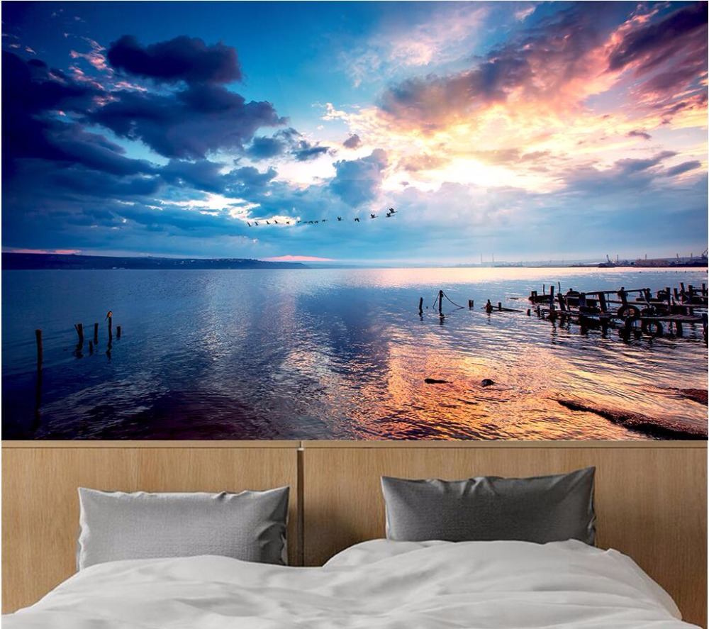 3d room wallpaper custom photo Sunset sky water photography landscape decor painting 3d wall mural wallpaper for walls 3 d custom photo 3d ceiling murals wall paper blue sky rose flower dove room decor painting 3d wall murals wallpaper for walls 3 d