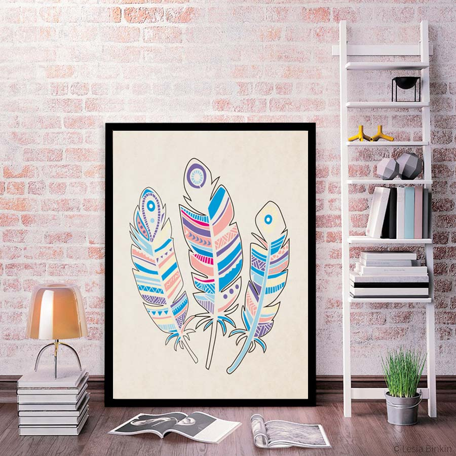 Modern Nordic Feathers Mandalas Canvas Painting Art Print Poster Nursery Wall Pictures For Living Room Home Decor No Frame In Calligraphy From
