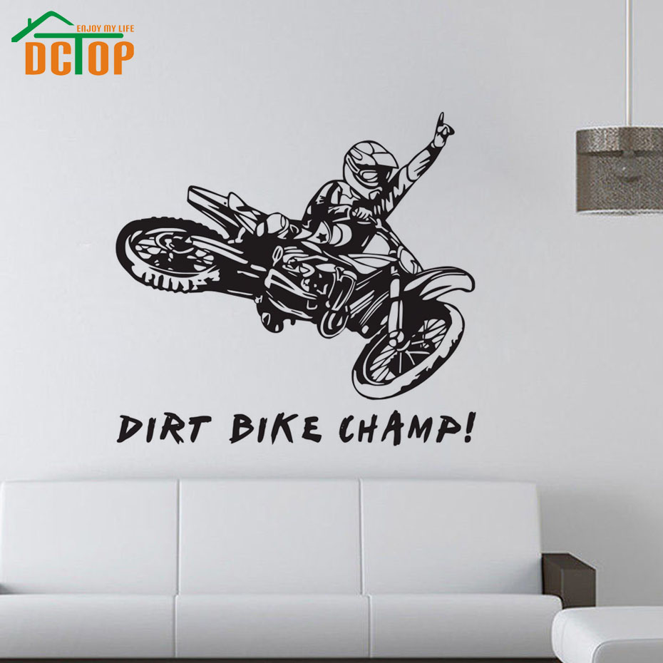 Dirt Cheap Home Decor: Dirt Bike Champ Wall Stickers Creative Vinyl Adhesive