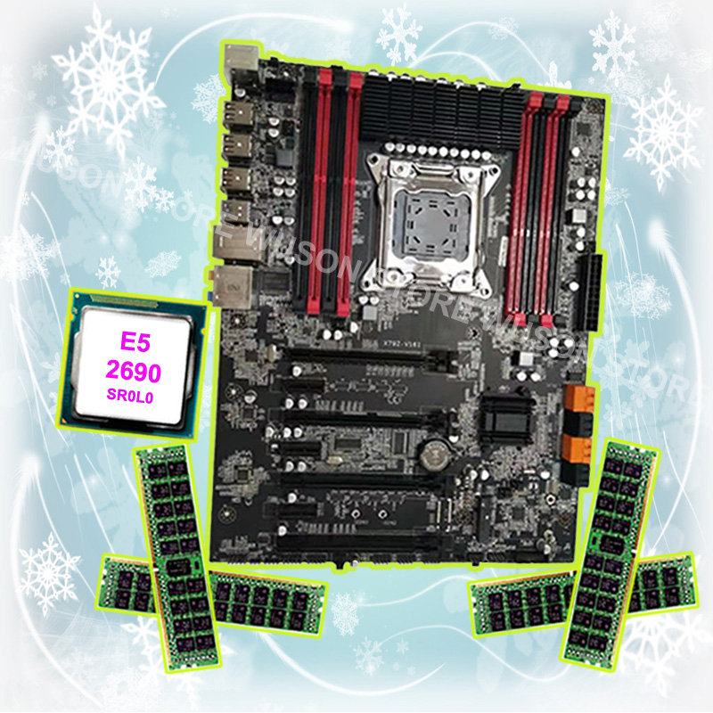 Buy best discount motherboard Runing Super ATX X79 LGA2011 motherboard with CPU <font><b>Intel</b></font> <font><b>Xeon</b></font> <font><b>E5</b></font> <font><b>2690</b></font> C2 2.9GHz RAM 64G(4*16G) RECC image