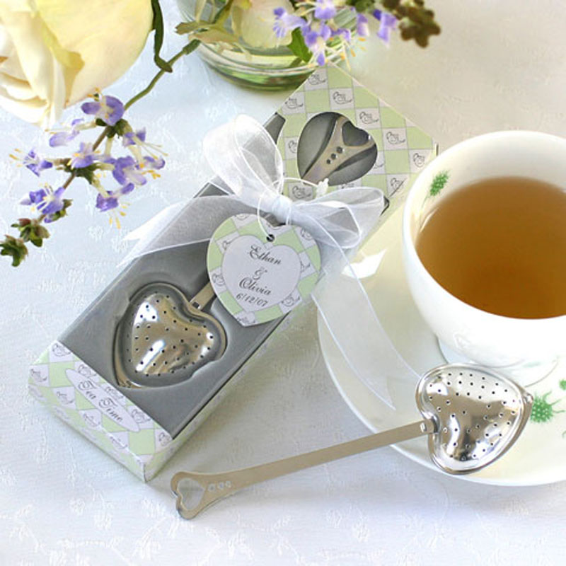 Free shipping 20pcs/lot Tea Time Heart Tea Infuser Wedding Favors+tea ball novelty tea party supplies wedding gifts for guests