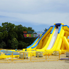 commercial water park,Fun inflatable water slide outdoor commercial use giant inflatable double lane water slide with arch