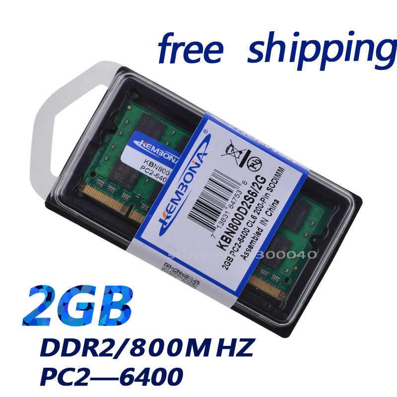 KEMBONA جديد 2 جيجابايت pc2 6400 ddr2 800 ميجا هرتز 200pin sodimm محمول نوت بوك رام SO-DIMM شحن مجاني