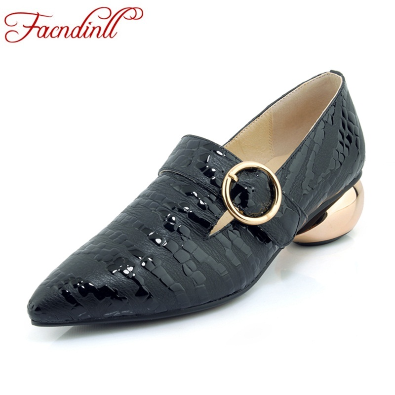 FACNDINLL shoes 2018 new fashion genuine leather women pumps med heels pointed toe shoes woman dress party casual black pumps facndinll shoes 2018 new fashion genuine leather women pumps med heels pointed toe shoes woman dress party casual black pumps
