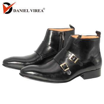 Men Dress Leather Basic Boots Black Color Fashion Delux Buckle Strap Zip Ankle Mens Pointed Toe casual ankle Dress Oxfords Shoes - DISCOUNT ITEM  55% OFF All Category