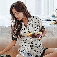 Feier Womens 2 Pieces Satin Chiffon Pajamas Summer Furnishing Wear Sexy Women Pajama Sets Female Silk Sleepwear