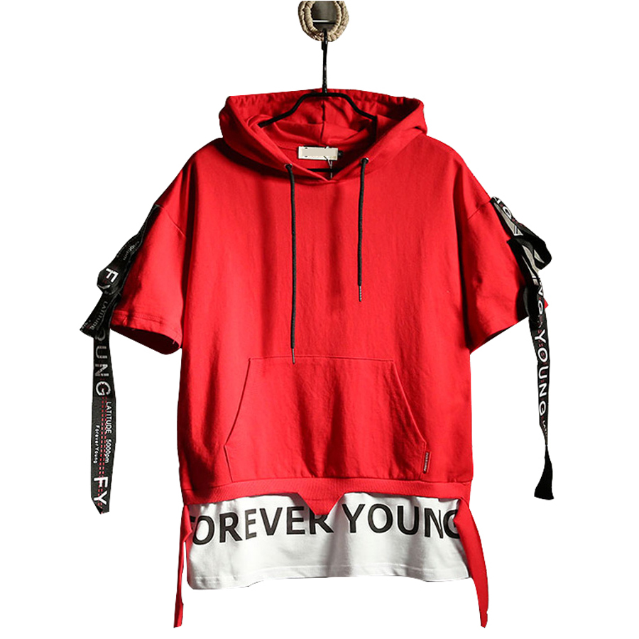 Fake Two Pieces Mens Ribbon Hoodies Summer Short Sleeve Patchwork Hoodie Men Street Big Size Red Hoody Rave Rap Clothes 5H015
