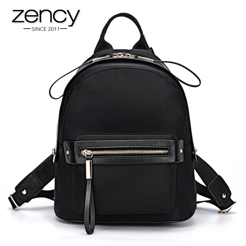 ФОТО ZENCY Light Weight Oxford Cloth With Few Cow Leather Women Backpack Women Backpacks Girl School Bag