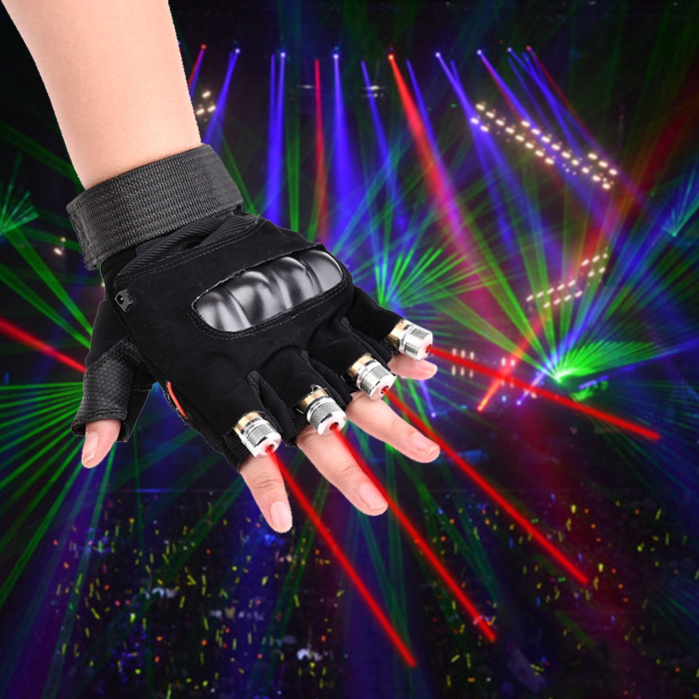 1Pcs Red Green Laser Gloves Dancing Stage Show Stage Gloves Light With 4/7 pcs Lasers and LED Palm Light For DJ Club/Party/Bars